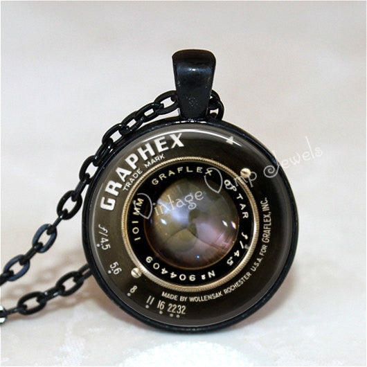 Camera Lens Pendant, Vintage Camera Lens, Gift for Photographer, Vintage Camera Lens Necklace, Glass Bezel Necklace, Antique Camera