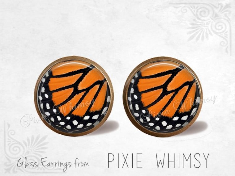 BUTTERFLY WING Earrings, Monarch Butterfly, Monarch Butterfly Jewelry, Stud Earrings, Post Earrings, Stud Earrings, Pierced Earrings, Moth