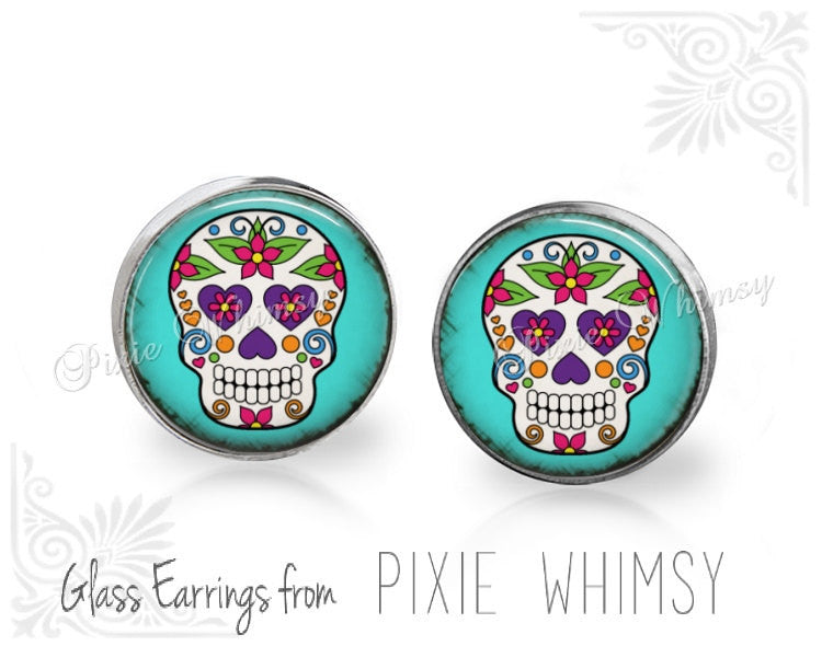 SUGAR SKULL Earrings, Sugar Skull Stud Earrings, Day of the Dead Earrings, Sugar Skull Post Earrings, Skull Stud Earrings, Pierced Earrings