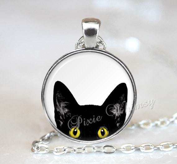 PEEPING TOM CAT Necklace, Black Cat Necklace, Black Cat Pendant, Peeking Cat, Cat Jewelry, Cat Keychain, Black Cat Jewelry, Cat Art Jewelry