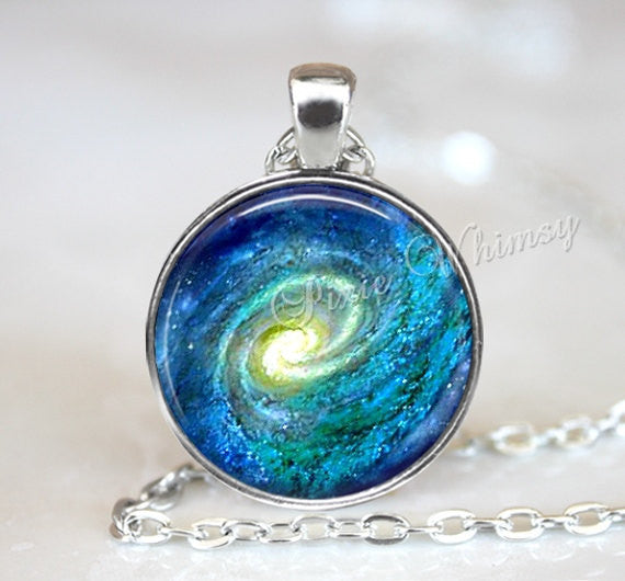 GALAXY Necklace, Spiral Galaxy Necklace, Spiral Galaxy, Galaxy Keychain, Galaxy Jewelry, Universe, Outer Space, Planet, Astronomy, Blue Aqua