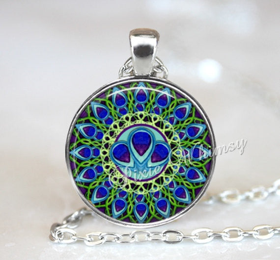 MANDALA Necklace, Peacock Feather Mandala Pendant, Mandala Jewelry, Bohemian, Keychain, Yoga, Meditation, Sacred Geometry, Spiritual Jewelry