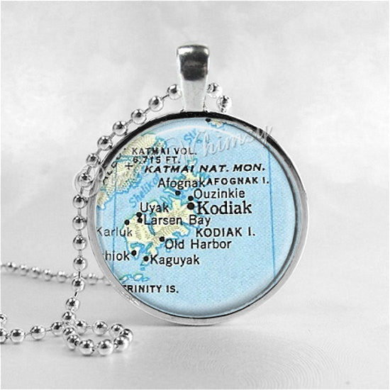 ALASKA MAP Necklace, Alaska Pendant, Vintage Alaska Map, Map Jewelry, Kodiak Alaska Map Necklace Art Pendant Jewelry