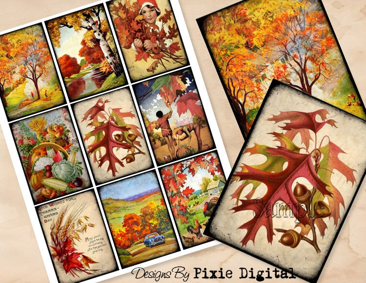 AUTUMN FALL LEAVES Digital Collage Sheet, Digital Download, Printable Thanksgiving Hang Tags, Journal Cards, Atc, Scrapbooking, Gift Tags