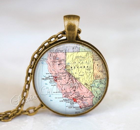 CALIFORNIA MAP Necklace, California Pendant, California Map Pendant, California Keychain, California Necklace, California Jewelry, CA Map