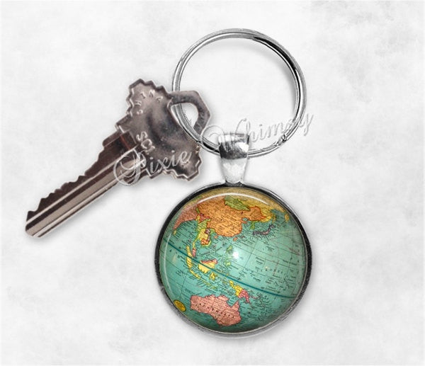 GLOBE Keychain, Globe Keyring, Key Chain, World Map Keyring, Map Keychain, Planet Earth, Travel Keychain, Gift for Traveler, Geography Gift