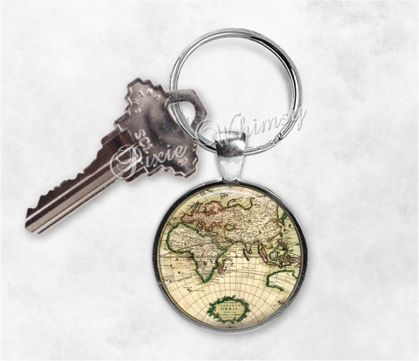 WORLD MAP Keychain, Map Keychain, Globe Keyring, Key Chain, World Map Keyring, Map Keychain, Map Keychain, Gift for Traveler, Wanderlust