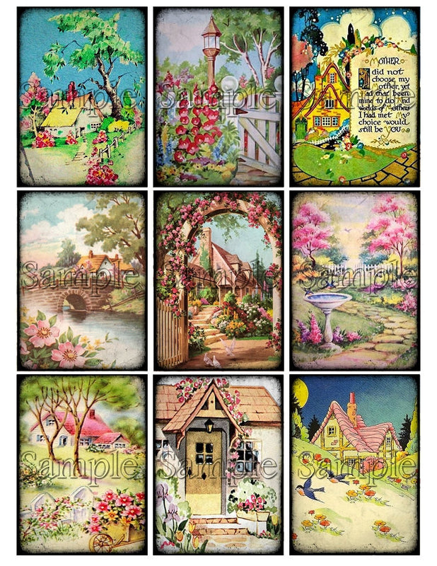 COTTAGE GARDEN Digital Collage Sheet Download Printable Vintage Floral Shabby Clipart Gift Hang Tags Journal Cards ATC Scrapbooking Images
