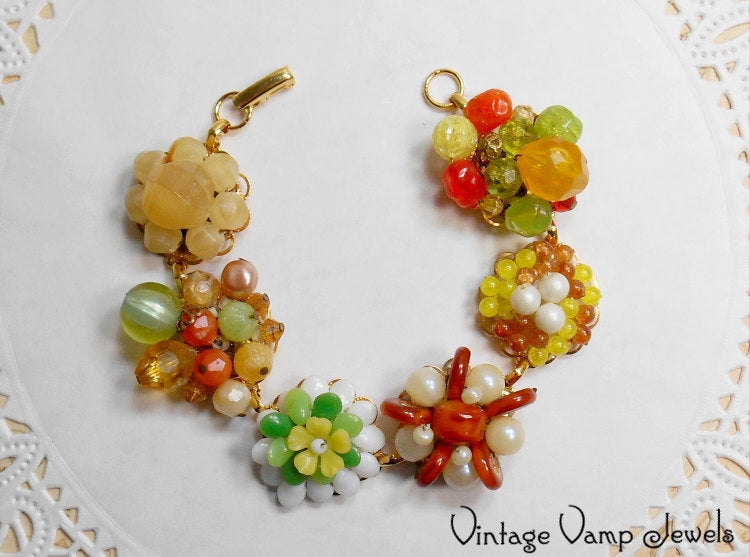 Assemblage Bracelet Repurposed Fall Colors Autumn Thanksgiving Handmade Jewelry One of a Kind Statement Upcycled Beaded Earrings