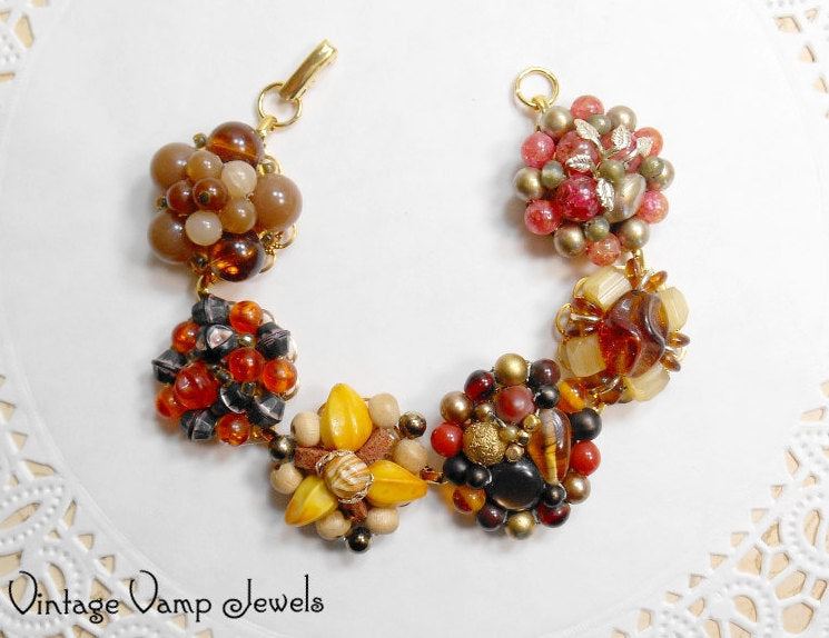 Earring Bracelet Brown Orange Tan Autumn Fall Thanksgiving Handmade Jewelry Assemblage One of a Kind Statement Upcycled Repurposed Beaded