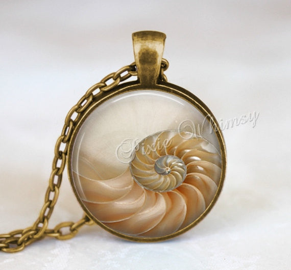 NAUTILUS SHELL Necklace Pendant or Keychain, Chambered Nautilus Art Glass Photo Art Jewelry, Beach Seashell Seashore Nautical Sealife