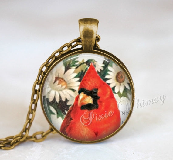 CARDINAL Necklace, Cardinal Pendant, Cardinal Keychain, Cardinal Jewelry, Bird Necklace, Bird Pendant, Red Bird, Illinois State Bird, Red