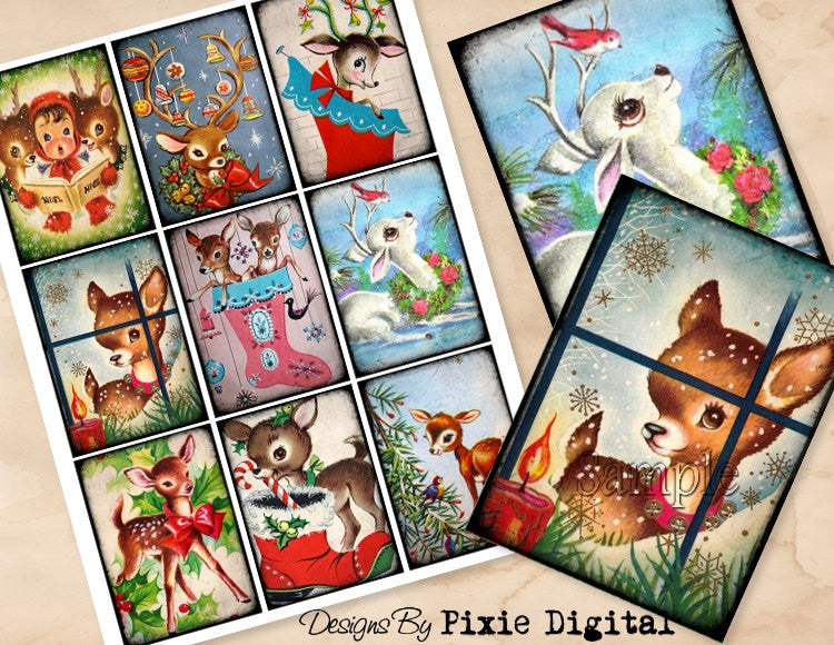 DEER CHRISTMAS Digital Collage Sheet Download Printable Postcard Clipart Gift Hang Tags Journal Cards ATC Scrapbooking Vintage Retro Images