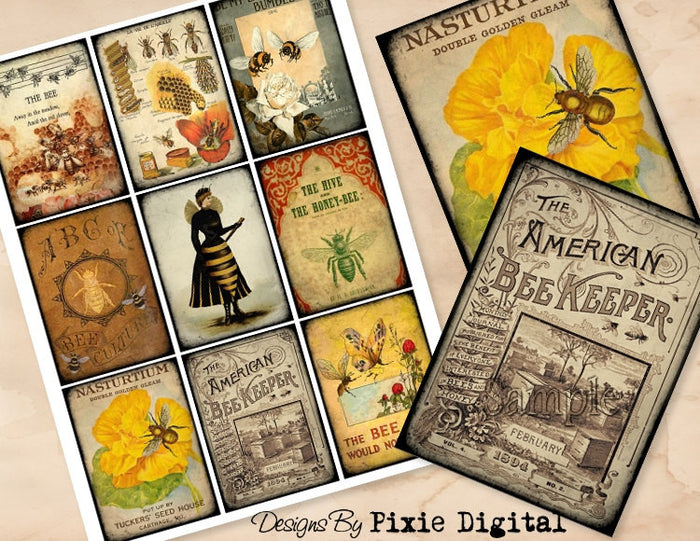 BEES Beehive Digital Collage Sheet Download Printable Beekeeping Honey Postcard Clipart Gift Hang Tags Cards ATC Scrapbooking Images Apiary