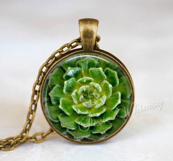 SUCCULENT Necklace Pendant or Keychain, Botanical Print Jewelry, Cactus Necklace, Southwestern Garden Green Plant Sacred Geometry Spiral