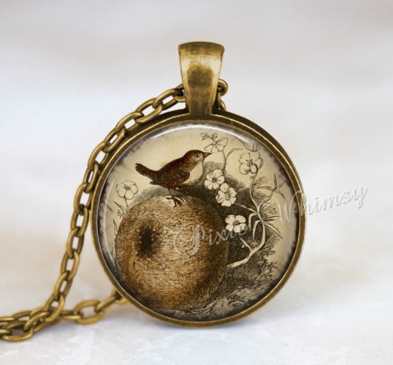 WREN Necklace, Wren Pendant, Wren Keychain, Wren Jewelry, Bird Necklace, Bird Pendant, Bird Nest Necklace, Vintage Bird Art Print, Sepia