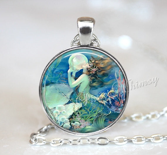 MERMAID Necklace, Mermaid Pendant, Mermaid Jewelry, Mermaid Keychain, Art Nouveau Mermaid, Siren Necklace, Vintage Mermaid Art Pendant