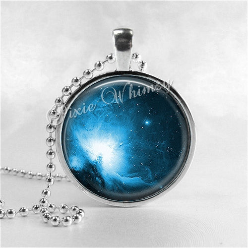 BLUE NEBULA Necklace Pendant, Photo Art Jewelry, Galaxy Outer Space Constellation Astronomy Stars