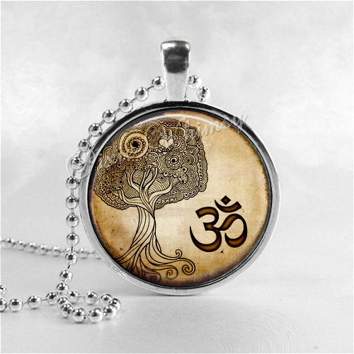 OM Pendant Necklace Pendant Yoga Jewelry Tree Life Buddhism Namaste Zen Bohemian Universe Meditation Mantra Icon Sacred Geometry Spiritual