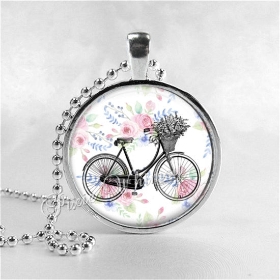 BICYCLE Necklace, Bicycle Pendant, Bicycle Jewelry, Bicycle Charm, Bike Necklace, Glass Photo Art Necklace Pendant Charm Shabby Flowers