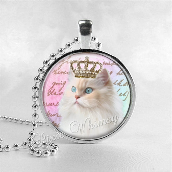 CAT with CROWN Necklace Art Pendant Jewelry, White Cat Necklace, White Cat Pendant, Queen, Princess, White Kitten Jewelry