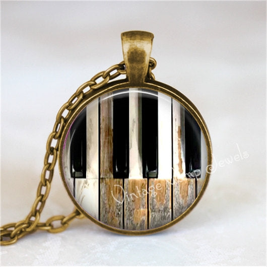 MUSIC Jewelry Piano Keys Necklace Pendant Keyboard Rustic Shabby Jewelry Musician Pianist Orchestra Art Necklace Gift For Music Teacher