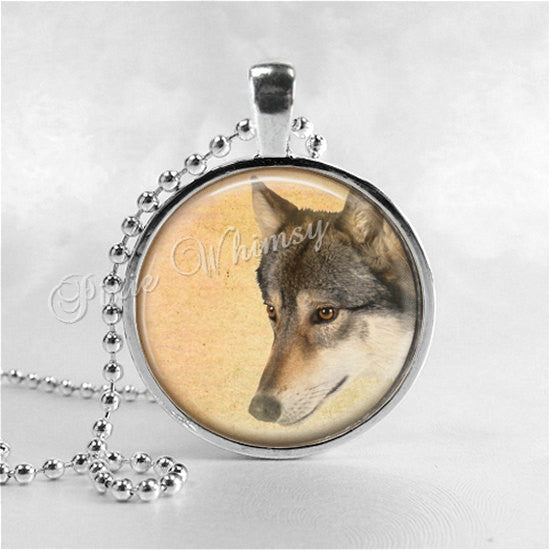 WOLF Necklace, Wolf Pendant, Wolf Jewelry, Wolf Charm, Glass Photo Art Pendant Charm, Animal Jewelry