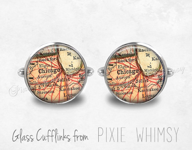 CHICAGO ILLINOIS Map Cufflinks Cuff Links Vintage Illinois Map Cuff Links Silver Cufflinks Antique Cufflinks Mens Accessories, Gift For Men