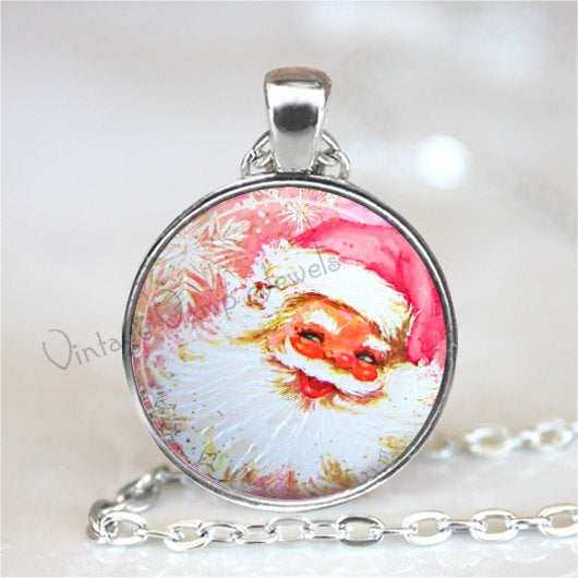 CHRISTMAS Necklace Pendant Jewelry Pink Santa Claus Vintage Christmas Retro Kitsch Glass Bezel Art Pendant Necklace Shabby Pink Christmas