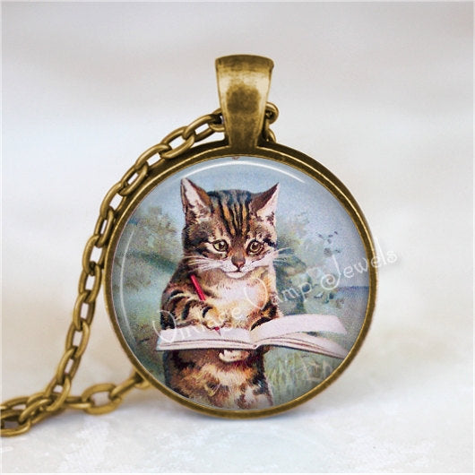 WRITER Pendant Necklace, Cat Writing in Book, Kitten Jewelry Author Glass Photo Art Pendant Necklace, Gift for Writer I Write