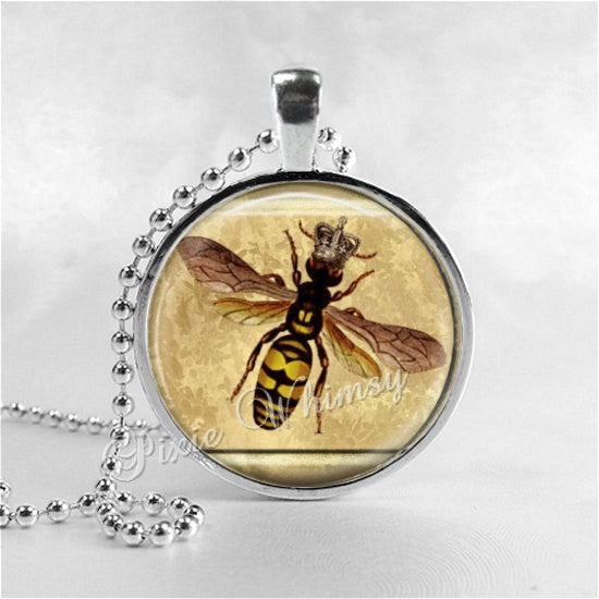 QUEEN BEE Necklace Pendant Jewelry Honey Bee Beehive Glass Art Pendant Charm, Honey Bee Jewelry, Apiary, Beekeeping, Bee Hive