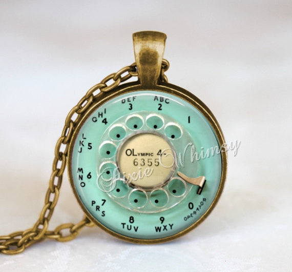 Rotary Phone Dial Necklace Pendant or Keychain Key Ring Vintage Aqua Telephone Jewelry Retro Antique Vintage Phone Kitsch