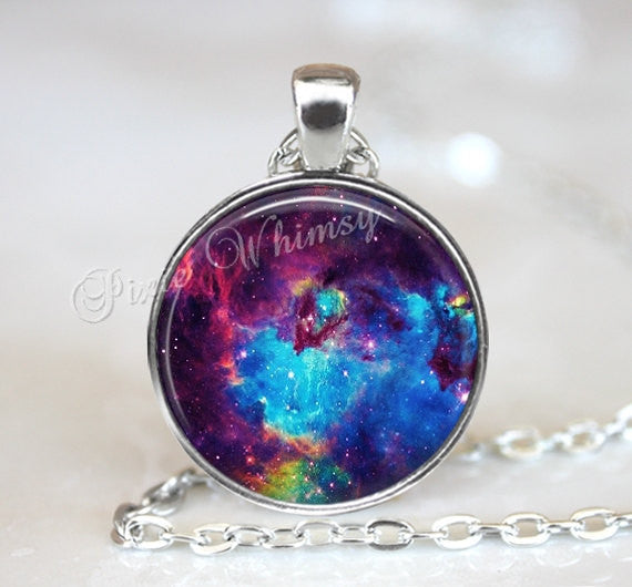 NEBULA Necklace Pendant Jewelry Keychain Galaxy Universe Outer Space Planet Stars Astronomy Heaven Blue Purple Aqua