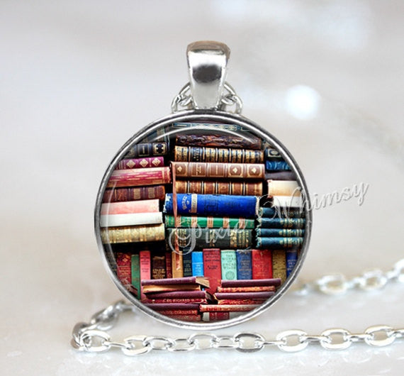 BOOKS Pendant Necklace Keychain Librarian Library Bookshelf Vintage Antique Library Book Lover Gift for Librarian Bibliophile Nerd Bookworm