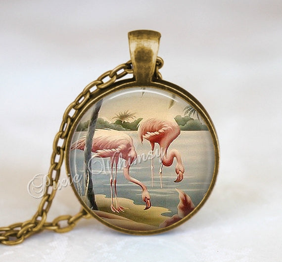 FLAMINGO Necklace Pendant Keychain Jewelry Pink Bird Vintage Flamingo Art Print Tropical Exotic Bird Palm Trees Turner Florida