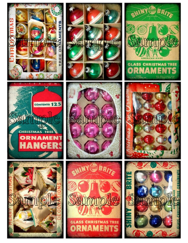 CHRISTMAS ORNAMENTS Digital Collage Sheet Download Printable Postcard Clipart Gift Hang Tags Journal Cards ATC Scrapbooking Vintage Images