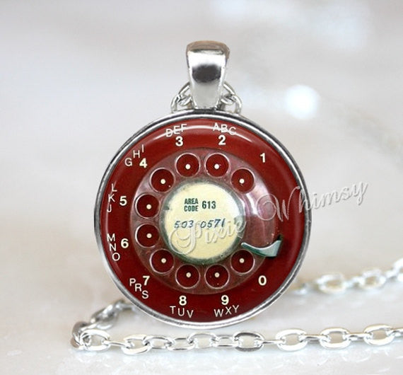 TELEPHONE Necklace,  Telephone Pendant, Telephone Keychain, Telephone Jewelry, Rotary Phone Dial Necklace, Vintage Telephone, Vintage Phone