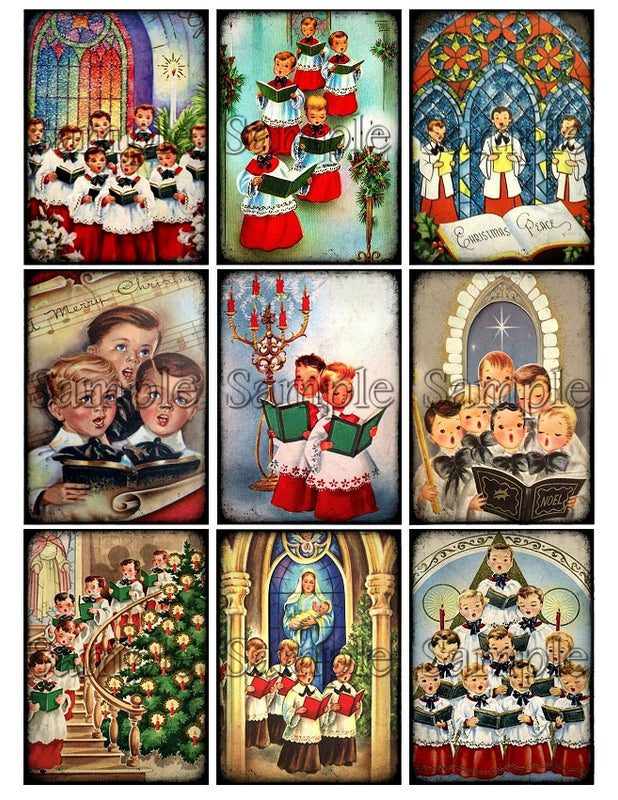 CHRISTMAS CHOIRBOYS Digital Collage Sheet Instant Download Printable Vintage Tags Journal Cards ATC Church Religious Christian Images