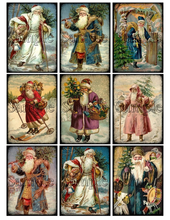 VICTORIAN SANTA Claus Christmas Digital Collage Sheet St. Nicholas Old World Santa Instant Download Printable Vintage Tags Journal Cards ATC