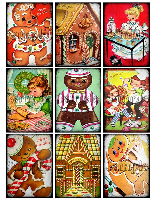 Baking Christmas Cookies Clipart.Christmas Cookies Gingerbread Man Baking Digital Collage Sheet Download Printable Clipart Gift Tags Cards Atc Scrapbooking Vintage Images