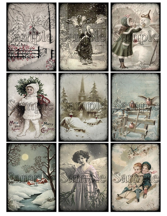 VICTORIAN CHRISTMAS Digital Collage Sheet Winter Scene Instant Download Printable Vintage Tags Journal Cards ATC Scrapbooking Images Clipart
