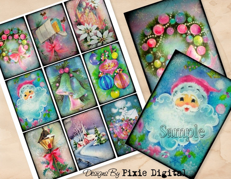 CHRISTMAS PASTELS Digital Collage Sheet Download Printable Clipart Gift Hang Tags Journal Cards ATC Scrapbooking Vintage Retro Shabby Images