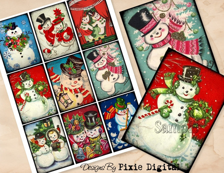SNOWMEN CHRISTMAS Digital Collage Sheet Download Printable Clipart Gift Hang Tags Journal Cards ATC Scrapbooking Vintage Retro Images