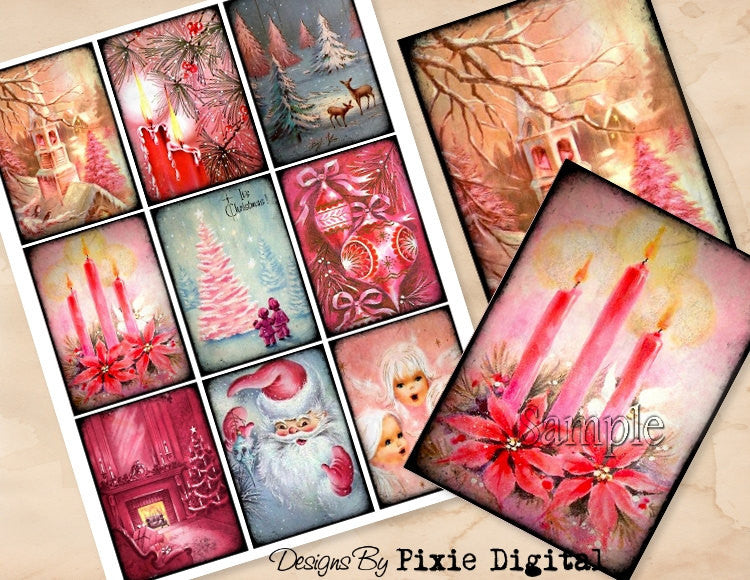 PINK CHRISTMAS Digital Collage Sheet Download Printable Clipart Gift Hang Tags Journal Cards ATC Scrapbooking Vintage Retro Shabby Images