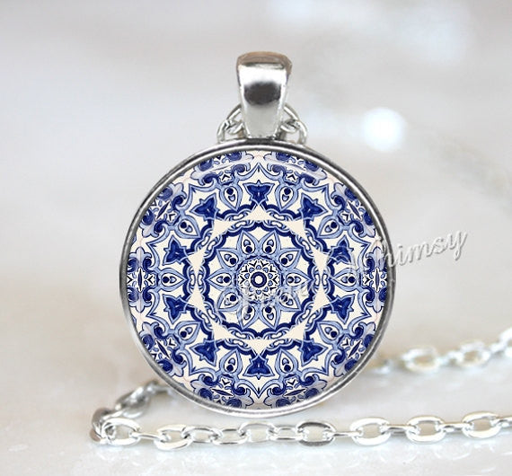 MANDALA Necklace Pendant Jewelry, Blue White Mandala Bohemian Jewelry, Mandala Keychain, Yoga Meditation Sacred Geometry, Spiritual Jewelry