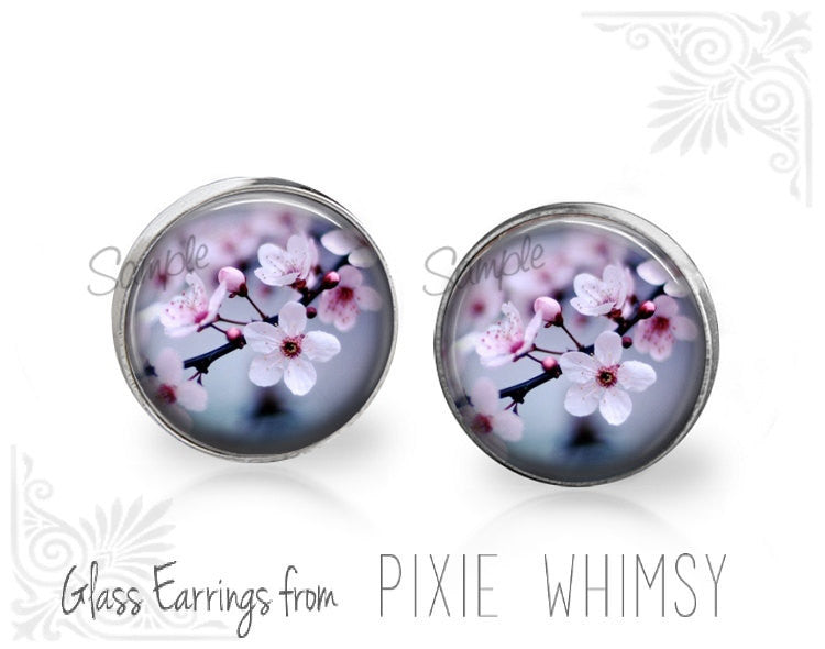 CHERRY BLOSSOM Earrings, Cherry Blossom Stud Earrings, Cherry Blossom Post Earrings, Stud Earrings, Pierced Earrings, Sakura Flower Studs