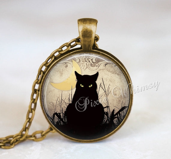 BLACK CAT Necklace, Black Cat Pendant, Halloween Necklace, Black Cat Keychain, Black Cat Jewelry, Gothic Pendant Necklace, Crescent Moon