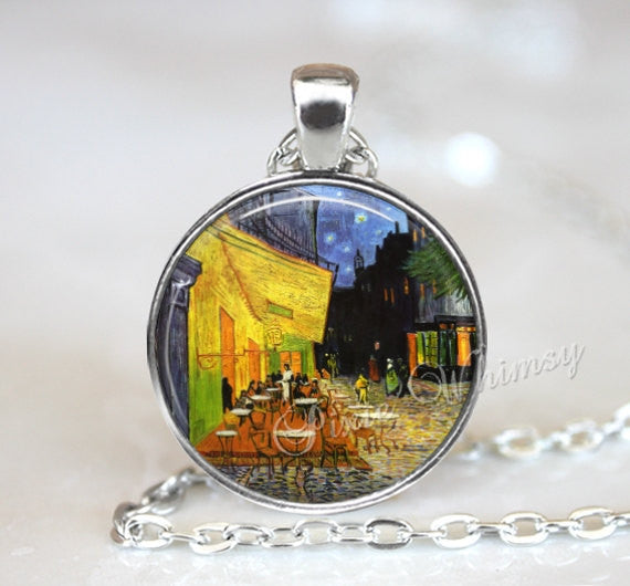Van Gogh Pendant Necklace Jewelry Keychain, Cafe Terrace At Night, Van Gogh Fine Art Jewelry, French Cafe Art Paris Starry Night Sky