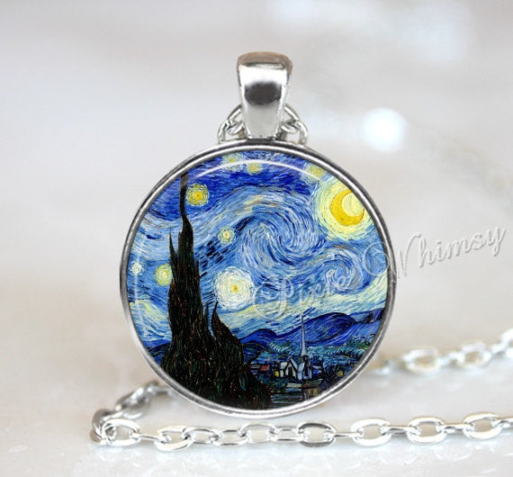 Van Gogh STARRY NIGHT Pendant, Starry Night Necklace, Starry Night Keychain, Van Gogh Fine Art Jewelry, Starry Night Jewelry, Moon and Stars