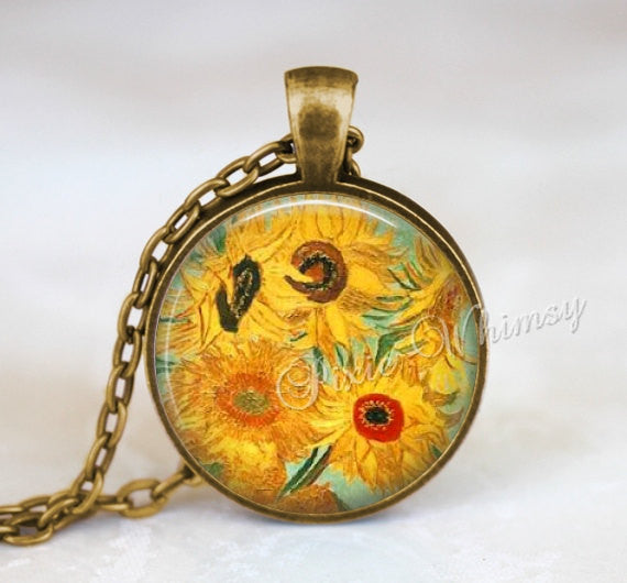 Van Gogh SUNFLOWERS Pendant, Sunflower Necklace, Sunflower Keychain, Van Gogh Fine Art Jewelry, Sunflower Jewelry, Botanical Key Ring